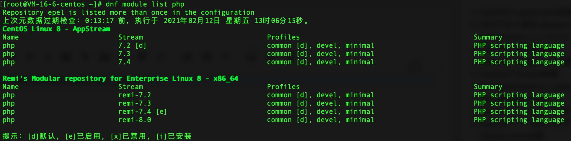 dnf module list php